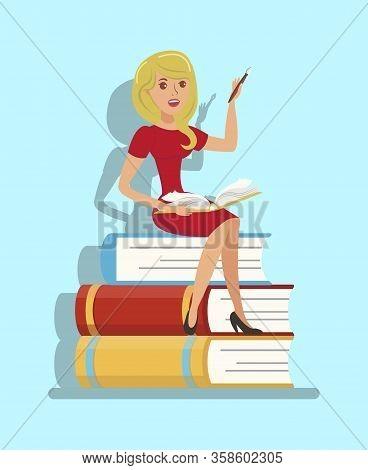 Writer, Teacher Sitting On Book Stack Illustration. Female Student Preparing For Final Test, Exam. L