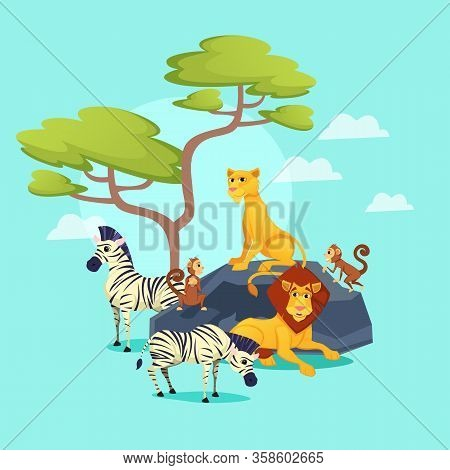 Zoo, African Animals On Nature Background, Lion King With Beautiful Mane, Lioness Sitting On Rock, G