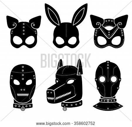 Set Of Animation Masks For Adults. Person, Dog, Cat, Rabbit. Template For Erotic Content. Vector Ill