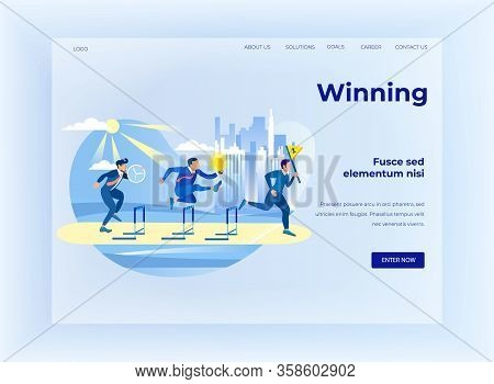 Winning On Business Competition Flat Landing Page Design. Businessmen With Clock, Idea Light Bulb An