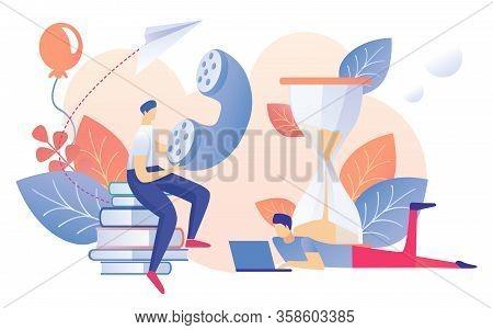 Cartoon Man Sit On Book Stack Holding Telephone Handset Vector Illustration. Worker Work On Notebook