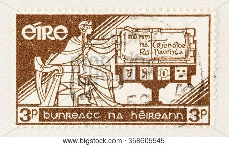 Seattle Washington - March 29, 2020: Close Up Of 1958 Eire Postage Stamp Commemorating 21st Annivers