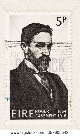 Seattle Washington - March 29, 2020: Close Up Of Postage Stamp From Ireland Featuring Roger Casement