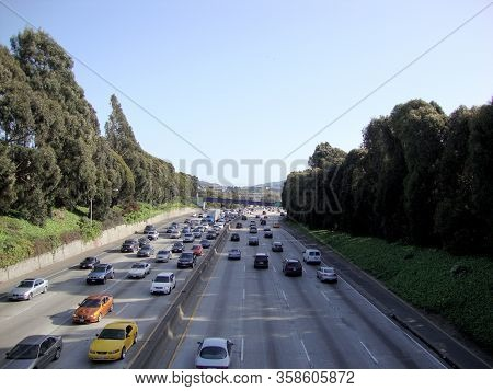 San Francisco - March 26, 2010: Overhead View Of Cars Driving On Interstate 280.  Interstate 280 Is