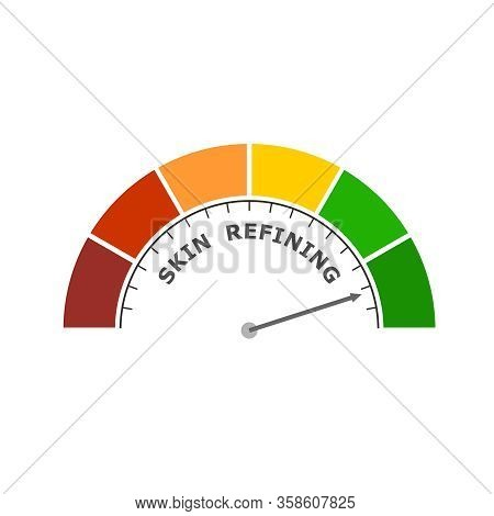 Abstract Meter Read Level Of Skin Refining Result. Color Scale With Arrow. The Measuring Device Icon