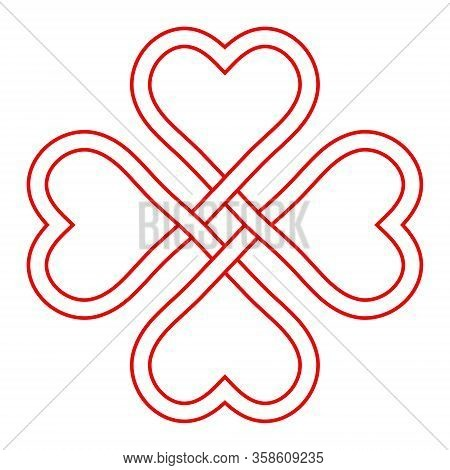 Symbol Love And Good Luck, Vector Interlacing Knot Of Hearts, Four-leaf Clover Shape To Attract Good