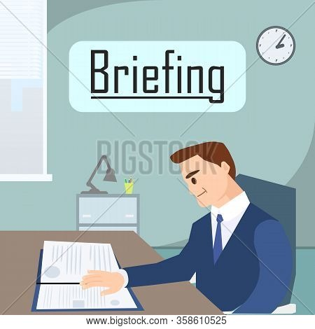Business Briefing In Office Banner Vector Illustration. Cartoon Man In Formal Suit Reading Documents