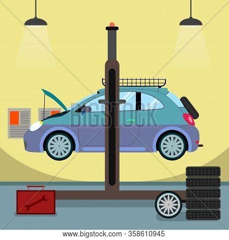 Broken Car On Hydraulic Lift Vector Illustration. Car Service Breakdown, Engine Failure Detection. A