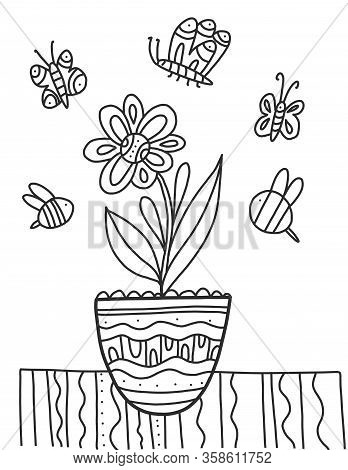Coloring Book With Flower. Vector Spring Coloring Flowers Potted With Insects Around. Beautiful Flow