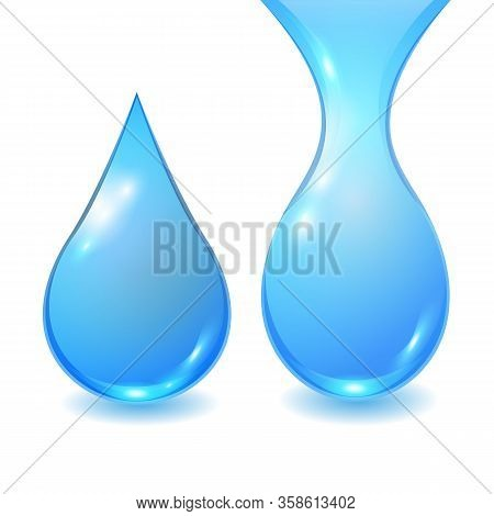 Set Vector Blue Extended Water Drops Isolated On White Background. Falling Clean Teardrop. 3d Realis