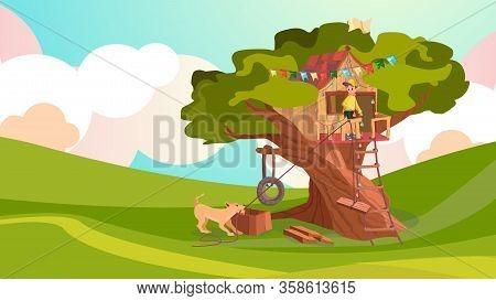 Cartoon Boy Build House On Tree, Pet Dog Help Vector Illustration. Kid Playhouse Exterior. Tire Swin