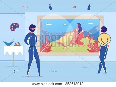 Visitors Watching At Artwork In Art Gallery Flat Cartoon Vector Illustration. Picture With Man And W