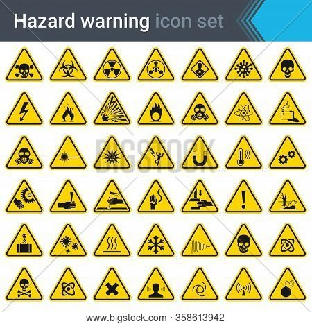 Hazard Warning Signs On Yellow Triangles. Set Of Signs Warning About Danger. 42 High Quality Hazard
