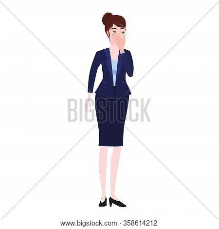 Businesswoman With Facepalm Gesture. Headache, Disappointment Or Shame Sad Stressed Face, Worry Disa