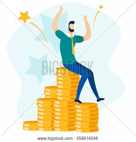 Rich Happy Businessman Sitting On Gold Coin Stack. Business Success, Financial Profit And Wealth Vec