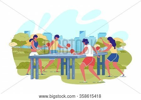Cartoon Couple Playing Table Tennis In City Park Vector Illustration. Man Woman Have Fun. Friendly M