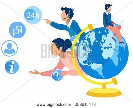 Informative Banner World Call Center Coverage. Operator Is Enthusiastic About Work. Consultants Answ