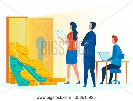 Unlocking Room Full Of Money Vector Illustration. Supervisor Checking Employees Work. Earning, Achie