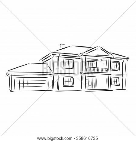 Sketch Of House Architecture .drawing Free Hand Vector Illustration.outline Sketch Drawing Perspecti