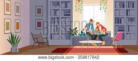 Home Schooling Concept. Family At Home With Tutor Or Parent Getting Education At Home. Big Family Co