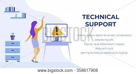 Banner Offering Technical Support And Maintenance. Vector Cartoon Woman Character Found Warning Sign