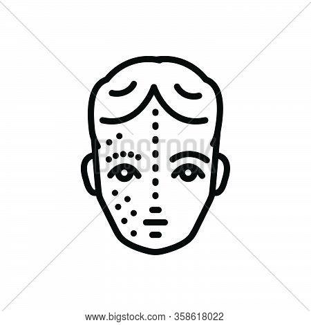 Black Line Icon For After Before Face Rejuvenation Skin Wrinkle Pimple Disease