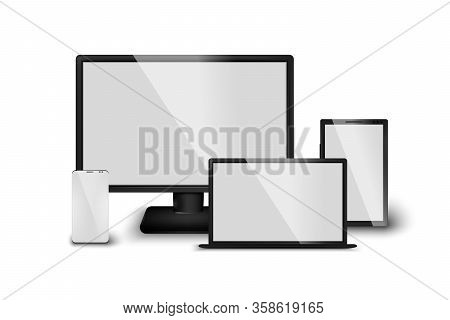 Vector Set Of Realistic 3d Computer Device Screens, Tablet, Mobile Phone, Laptop. Isolated Gadgets O