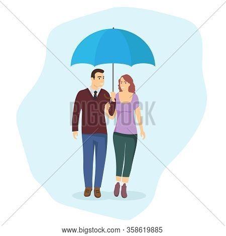 Man And Woman Under An Umbrella. A Loving Couple Walks Under An Umbrella. Vector Illustration Of A L