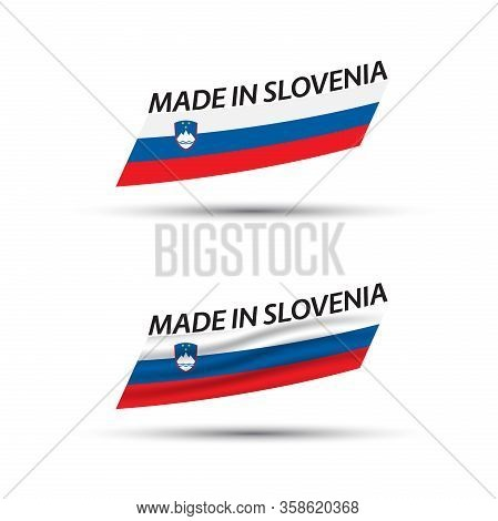 Two Modern Colored Vector Flags With Slovenian Tricolor Isolated On White Background, Flags Of Slove