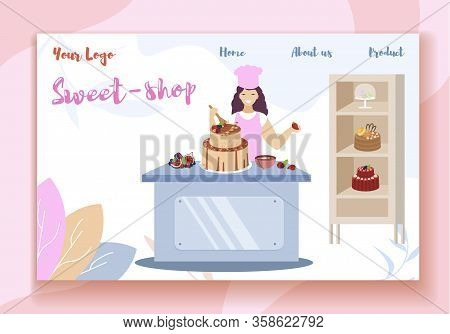 Sweet Shop Horizontal Banner. Happy Smiling Woman In Pink Apron And Chef Cap Decorating Beautiful Fe