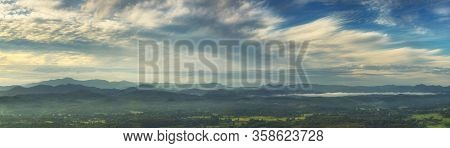 Panorama Blue Sky Mountain Panoramic Landscape View Fluffy White Cloud Summertime Sunshine Morning C