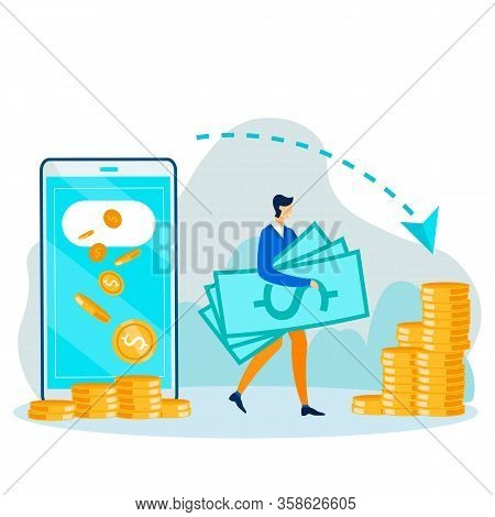 Cartoon Guy With Cash. Huge Phone Man Makes Financial Operations Using Mobile App. Money Transaction