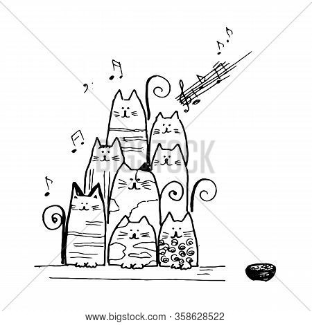Graphic Image Of A Cheerful Choir Of Cats Sung