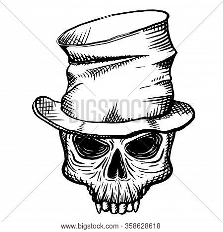 Hand Drawn Skull Of A Dead Man In A Crumpled Top Hat, On A White Background. Vector Illustration