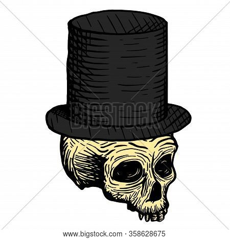 Hand Drawn Skull Of A Dead Man In A Black Top Hat, On A White Background. Vector Illustration