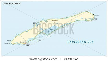 Map Of Little Cayman, An Island In The Cayman Islands, Uk