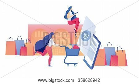 Young Busy Woman, Doing Super Speedy Shopping Online Using Pad, Rushing To Purchase Supplies Product
