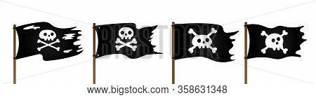 4 Pirate Flag With Jolly Rogeras Skull And Crossing Bones Flat Style Design Vector Illustration Coll