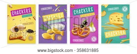 Realistic Colorful Posters With Salty Crackers With Different Flavours Isolated Vector Illustration