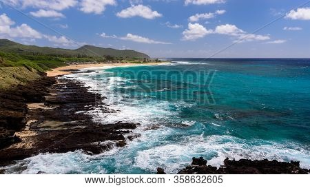 View Of Sandy Beach Park, From The Halona Blowhole Lookout, Oahu, Hawaii.
