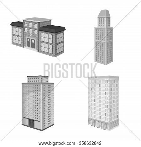 Vector Illustration Of Realty And Modern Logo. Set Of Realty And Building Stock Vector Illustration.