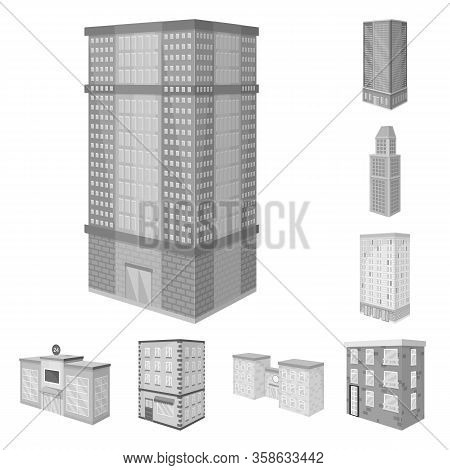 Vector Design Of Realty And Modern Sign. Set Of Realty And Building Vector Icon For Stock.