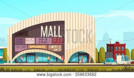 Shopping Mall Outside Composition Mall Building With Tags And Headlines Of Shops On The Wall Vector