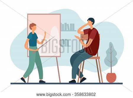 Father Tutoring Son At Home. Flat Vector Illustration