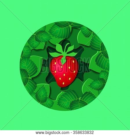 Paper Cut Green Leaves And Red Strawberry With Shadows On Green Mint Color Background