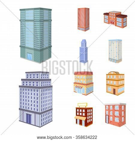 Vector Illustration Of City And Build Sign. Set Of City And Apartment Stock Symbol For Web.