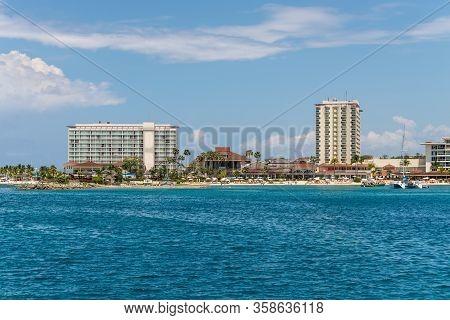 Ocho Rios, Jamaica - April 22, 2019: View From The Sea To The Beach And Tourism Area Of Ocho Rios, J