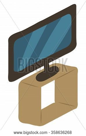 Tv-set On Shelf Isolated Furniture In Interior Design. Vector Modern Entertainment Device, Broadcast