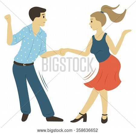 People Character Dancing, Full Length View Of Man And Woman Moving With Holding Hands Isolated. Danc