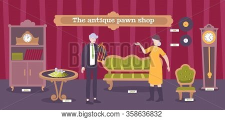Antique Pawnshop Customers Looking  For Furniture Vinyl Records Clock  Valuable Collectible Interior